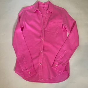 Gap Hot Pink V- Neck Button Down Size M